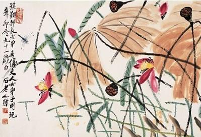 齐白石的画荷花蜻蜓