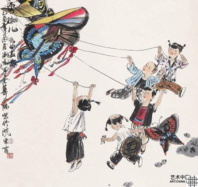 放风筝:儿童散学归来早